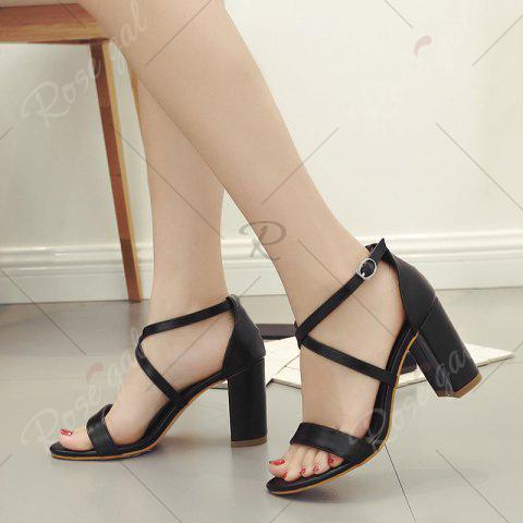 Chic Block Heel Cross Strap Faux Leather Sandals - 37 BLACK Mobile