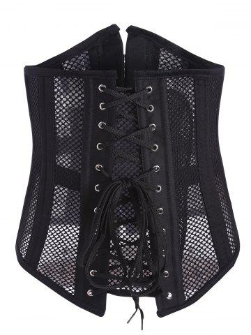 Trendy Mesh Underbust Lace Up Corset BLACK S