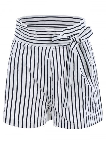 Fashion Ruffles Waist Bowknot Stripe Middle Shorts WHITE L