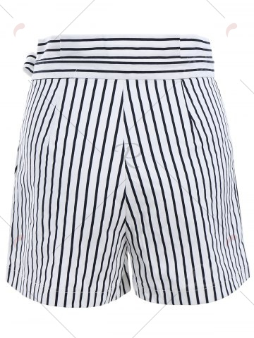 Outfits Ruffles Waist Bowknot Stripe Middle Shorts - XL WHITE Mobile