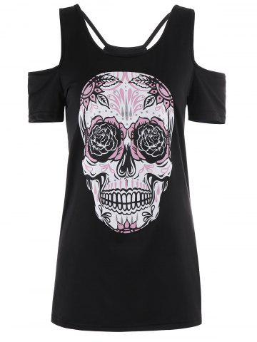 Cheap Strappy Skull Print Open Shoulder T-Shirt - XL BLACK Mobile