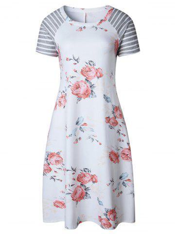 Shop Floral Striped Raglan Sleeve T Shirt Dress WHITE S