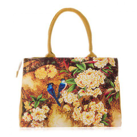 Chic Flower Print Canvas Handbag DEEP YELLOW