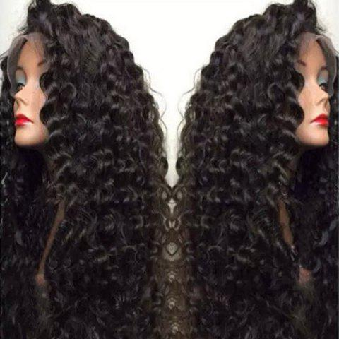 Ultra Long Side Bang Fluffy Deep Curly Lace Front perruque synthétique Noir
