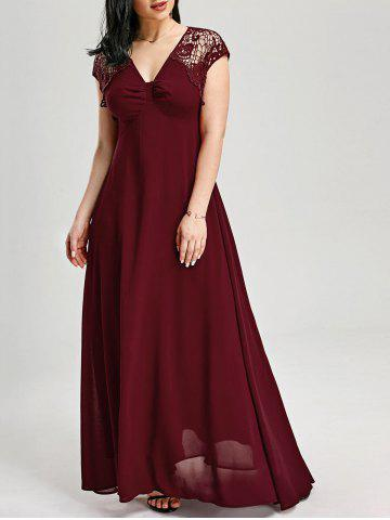Lace Insert Open Back Maxi Prom Dress - Wine Red - 2xl