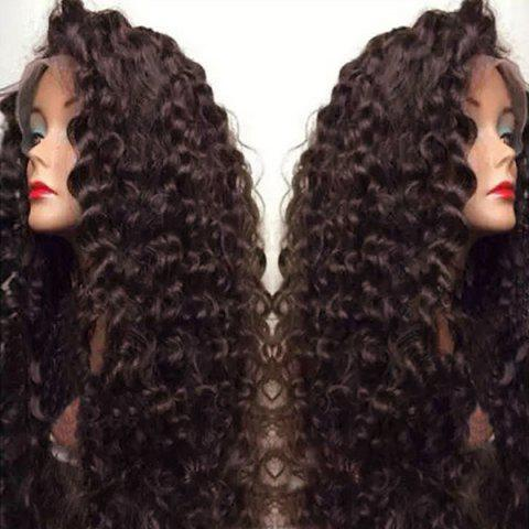 Outfit Ultra Long Side Bang Fluffy Deep Curly Lace Front Synthetic Wig - BROWN  Mobile