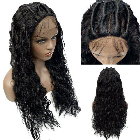 Store Long Shaggy Free Part Water Wave Lace Front Synthetic Wig - BLACK  Mobile