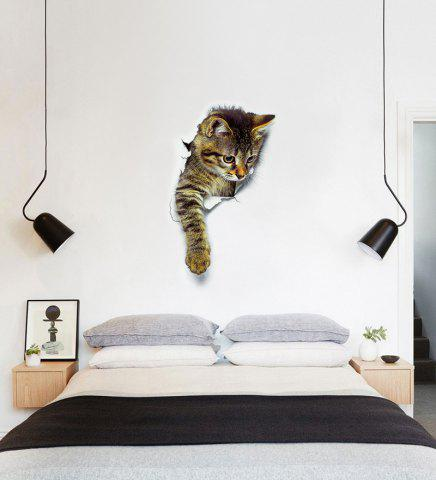 Discount Cat Animal 3D Removable Bathroom Wall Sticker - PATTERN C BROWN Mobile