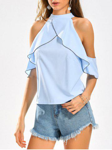Sale Cold Shoulder Stand Collar Ruffles Blouse LIGHT BLUE L