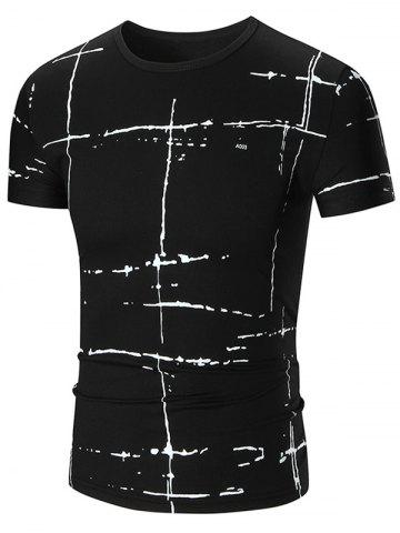 Outfits Allover Painted Short Sleeve T-shirt BLACK 5XL