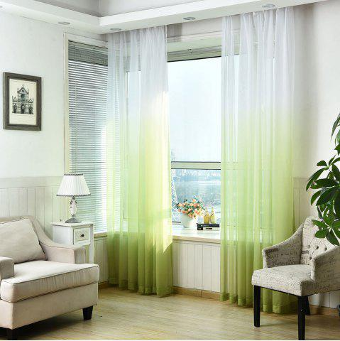 Buy 1PC Transparent Gradient Color Voile Window Curtain GREEN W39 INCH * L98.5 INCH