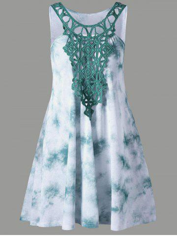 Cutwork Tie Dye Sleeveless Dress - Green - Xl