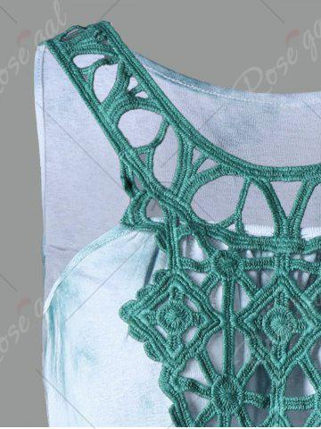 Discount Cutwork Tie Dye Sleeveless Dress - XL GREEN Mobile