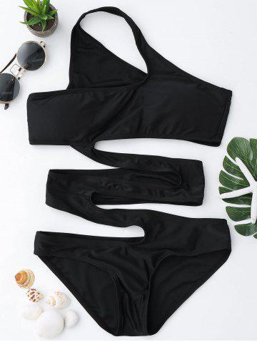 Affordable One Shoulder Cut Out Swimsuit - S BLACK Mobile