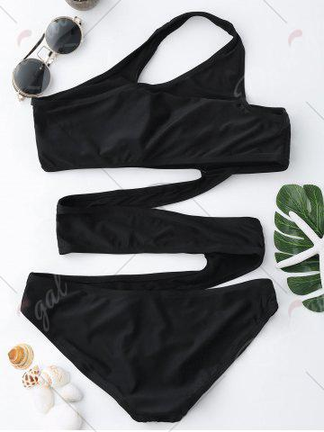 Hot One Shoulder Cut Out Swimsuit - S BLACK Mobile