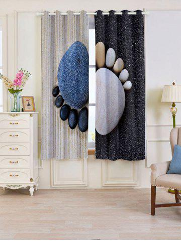 Hot 2 PCS Stone Foot Pattern Blackout Window Curtains - W53 INCH * L63 INCH SMOKY GRAY Mobile