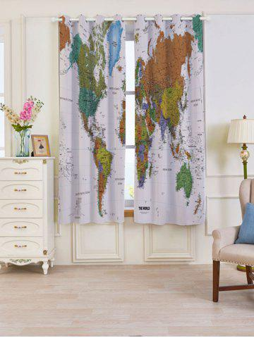 Best 2 Panels Blackout World Map Print Window Curtains COLORFUL W53 INCH * L63 INCH
