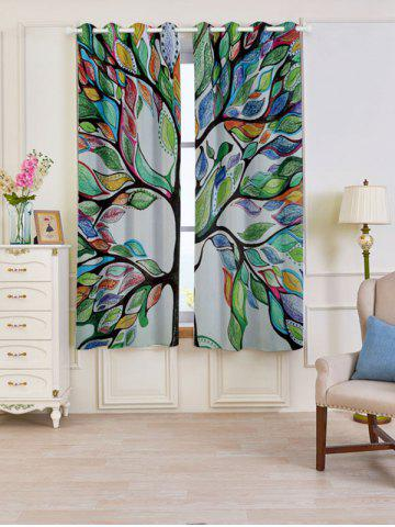 Unique Life of Tree Print Blackout 2 PCs Window Curtains