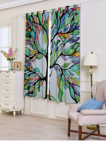 Best Life of Tree Print Blackout 2 PCs Window Curtains - W53 INCH * L63 INCH COLORFUL Mobile