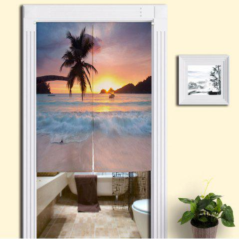 Online Beach Scenery Printed Fabric Home Door Curtain COLORMIX W33.5 INCH * L47 INCH