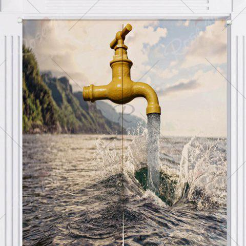 Store Sea and Faucet Print Home Product Door Curtain - W33.5 INCH * L35.5 INCH COLORMIX Mobile