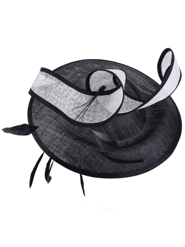 New Ribbon Feather Cambric Cocktail Hat - BLACK  Mobile