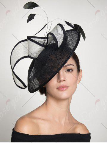 Chic Ribbon Feather Cambric Cocktail Hat - BLACK  Mobile