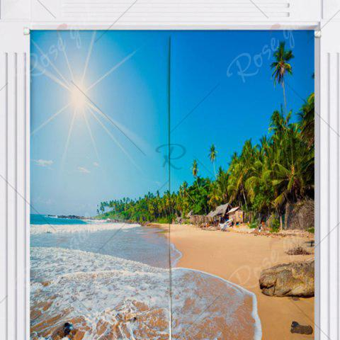 Chic Sunshine Beach Home Product Door Curtain - W33.5 INCH * L35.5 INCH BLUE Mobile
