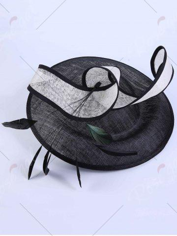 Outfits Ribbon Feather Cambric Cocktail Hat - BLACK  Mobile