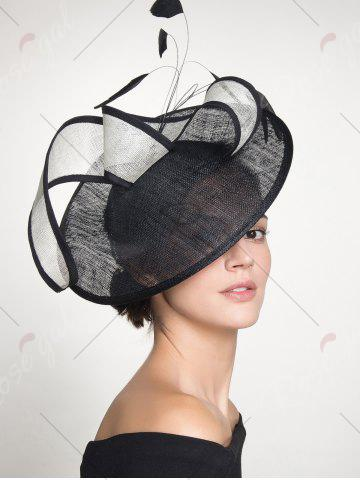 Sale Ribbon Feather Cambric Cocktail Hat - BLACK  Mobile