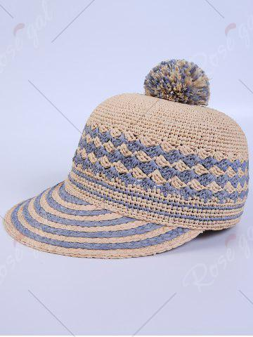 Outfits Pom Ball Rhombus Striped Baseball Cap - CLOUDY  Mobile
