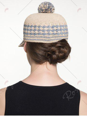 Outfit Pom Ball Rhombus Striped Baseball Cap - CLOUDY  Mobile