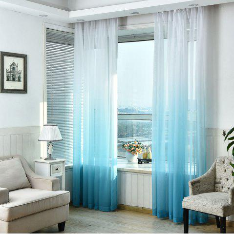 1PC Transparent Gradient Color Voile Window Curtain Bleu clair Largeur39pouces*Longeur98.5pouces
