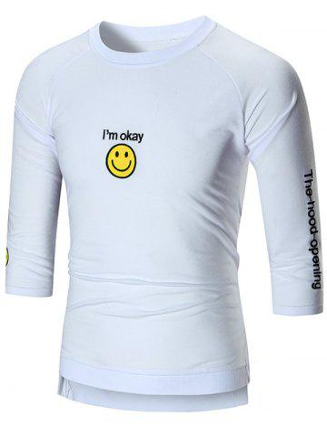 Smile Face Emoji Patched High-Low T-shirt