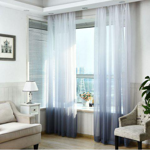 1PC Transparent Gradient Color Voile Window Curtain Cendre Largeur39pouces*Longeur98.5pouces