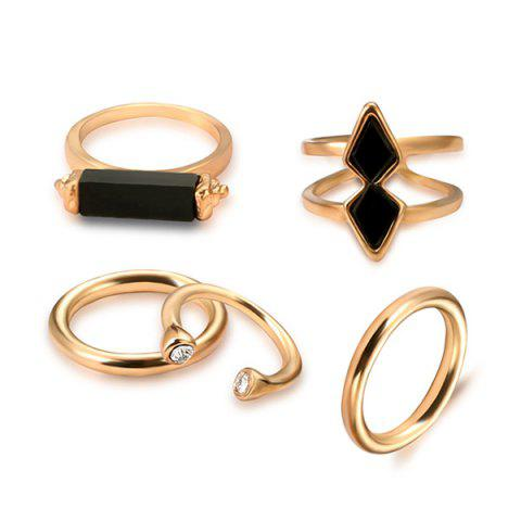 Hot Vintage Geometric Cuff Ring Set GOLDEN