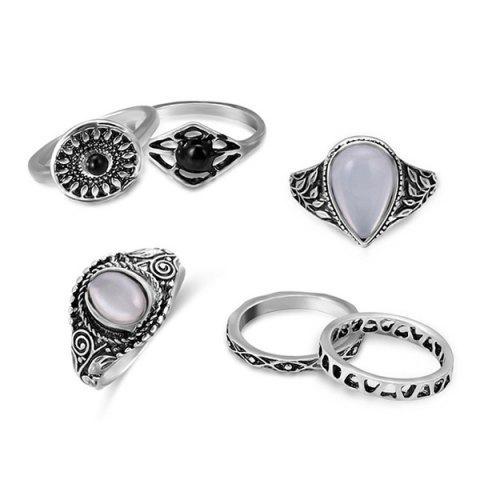 Faux Opal Vintage Teardrop Ring Set - Silver - One-size