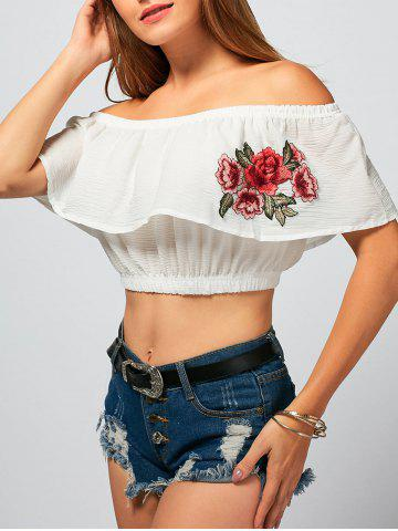 Flower Embroidery Off The Shoulder Crop Top - White - L