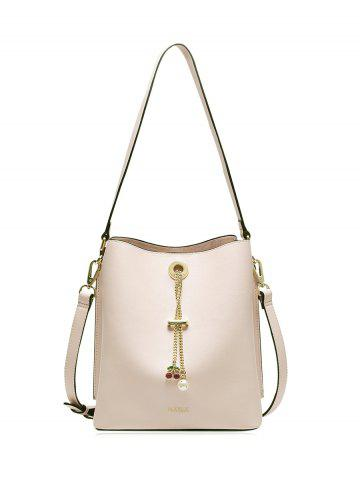 Trendy Cherry Pendant PU Leather Shoulder Bag PINK