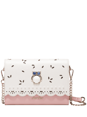 Discount Owl Embellished Scalloped Crossbody Bag - PINK  Mobile