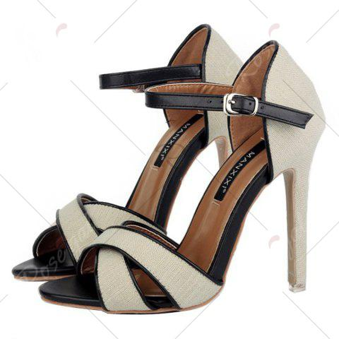 Cheap Ankle Wrap Canvas Sandals - 37 OFF-WHITE Mobile