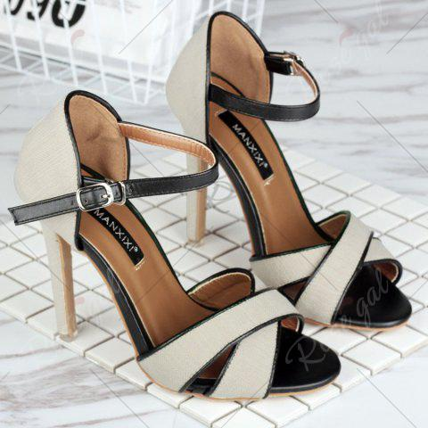 Hot Ankle Wrap Canvas Sandals - 37 OFF-WHITE Mobile