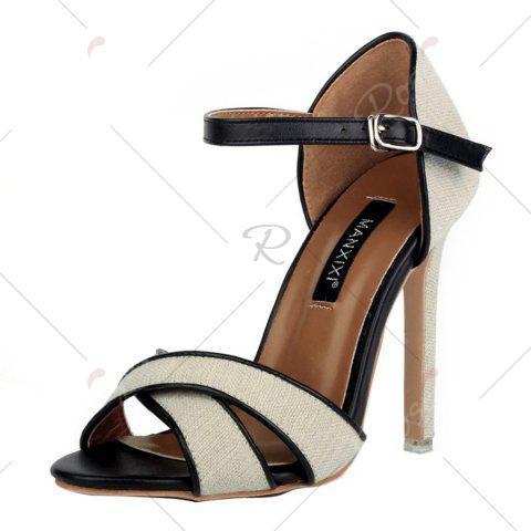 Outfit Ankle Wrap Canvas Sandals - 37 OFF-WHITE Mobile
