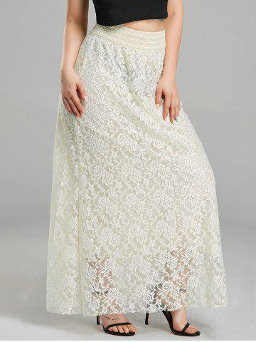 Maxi High Waist Lace Skirt - Creamy White - S