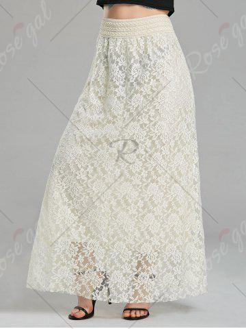 Best Maxi High Waist Lace Skirt - S CREAMY WHITE Mobile