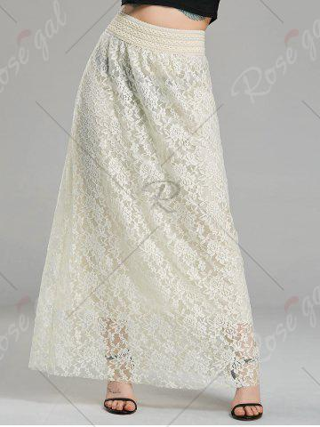 Hot Maxi High Waist Lace Skirt - S CREAMY WHITE Mobile