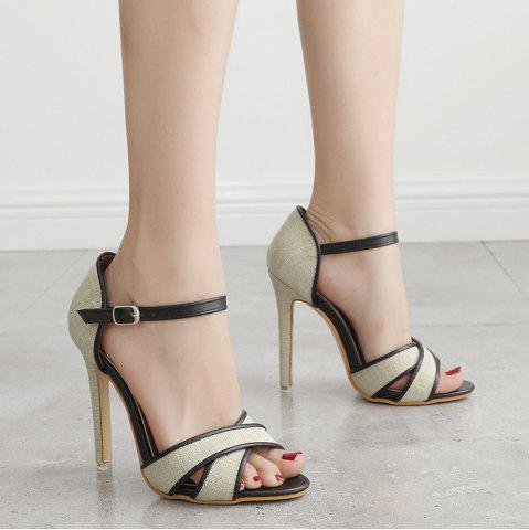 Ankle Wrap Canvas Sandals - Off-white - 40
