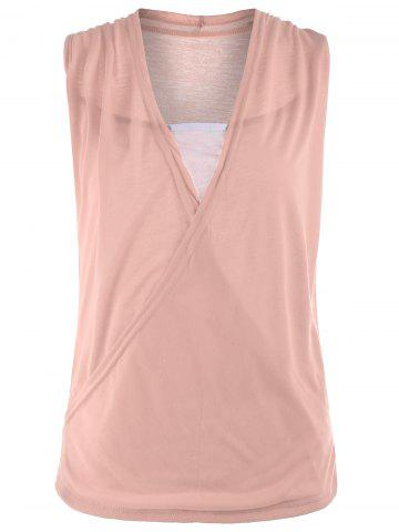 Outfit Casual Two Tone Surplice Sleeveless Top PINK XL