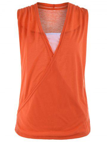 Shops Casual Two Tone Surplice Sleeveless Top