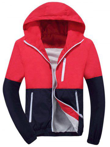 Color Block Zip Up Hooded Track Jacket - Red - 3xl